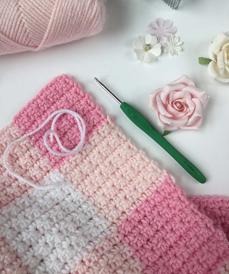 Crochet Baby Blanket Pattern Pink Gingham Free And Easy