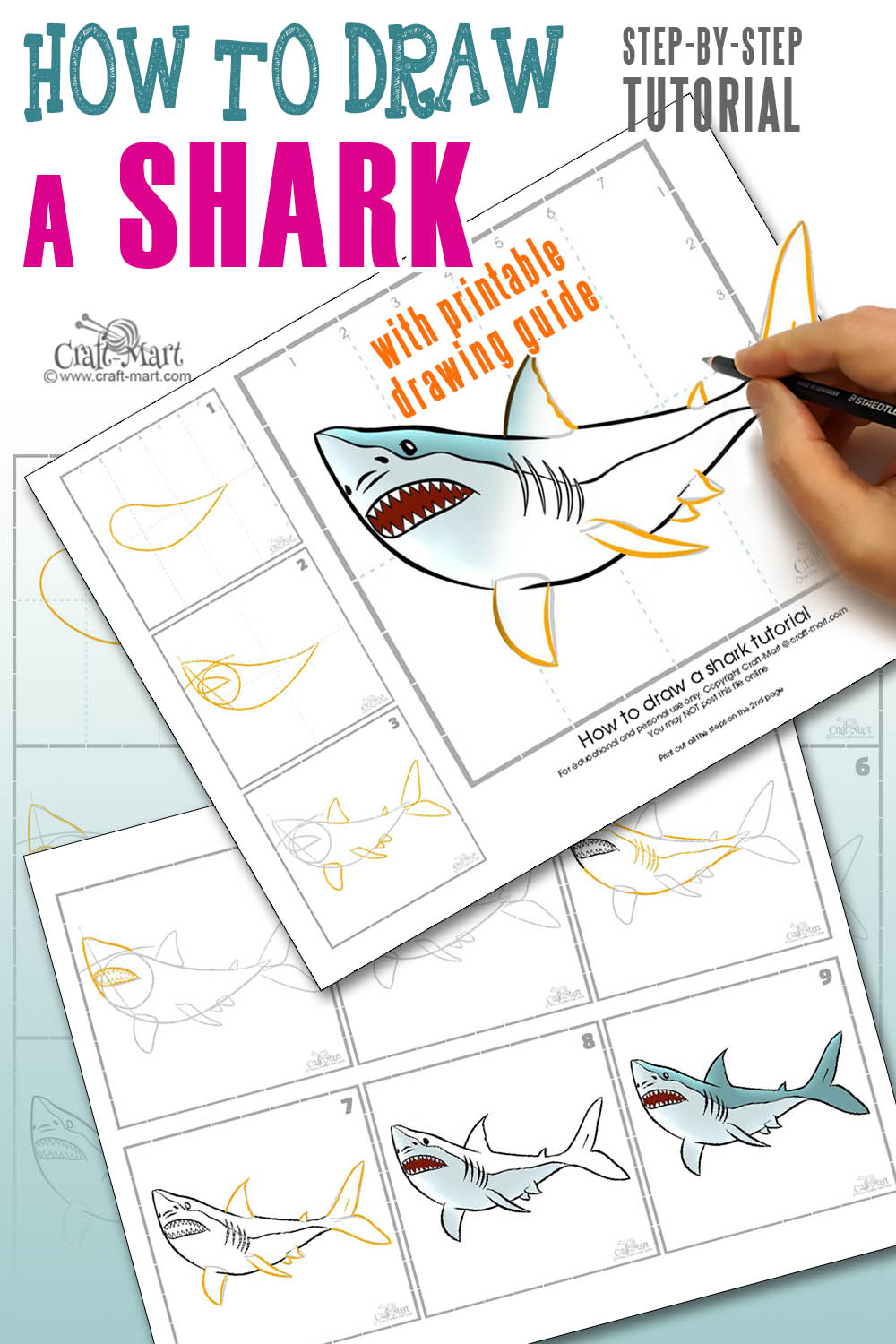 draw a shark step-by-step printable guide that will help beginners to learn all the basics of drawing a shark easy and fast!