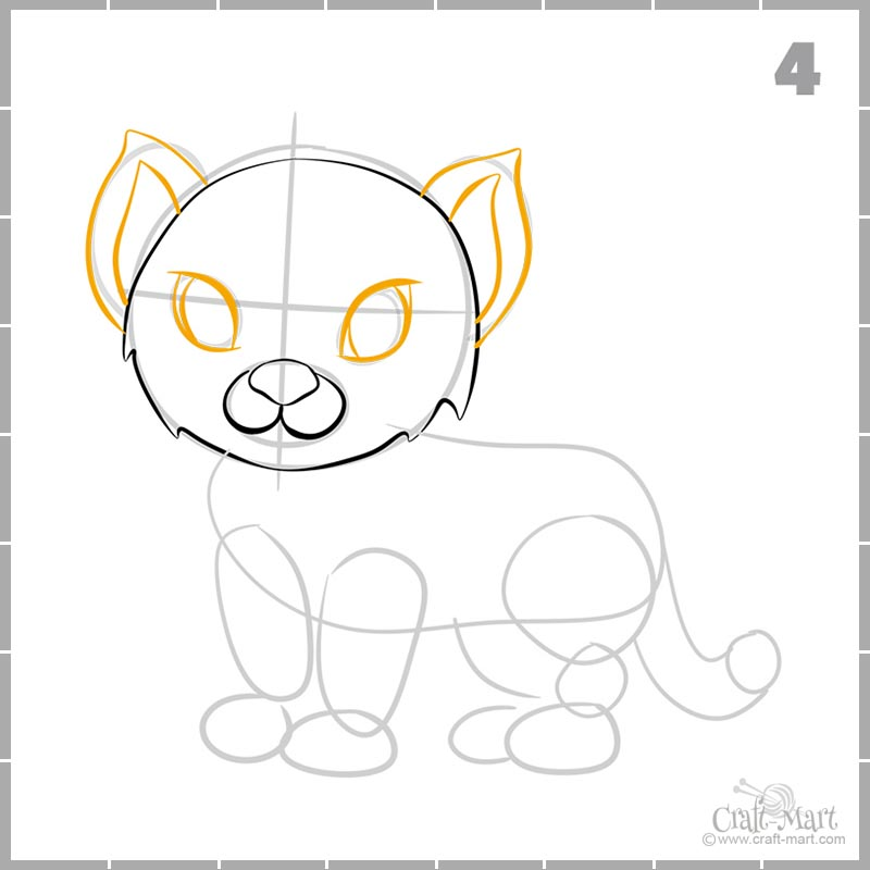 continue drawing of a tiger cub face
