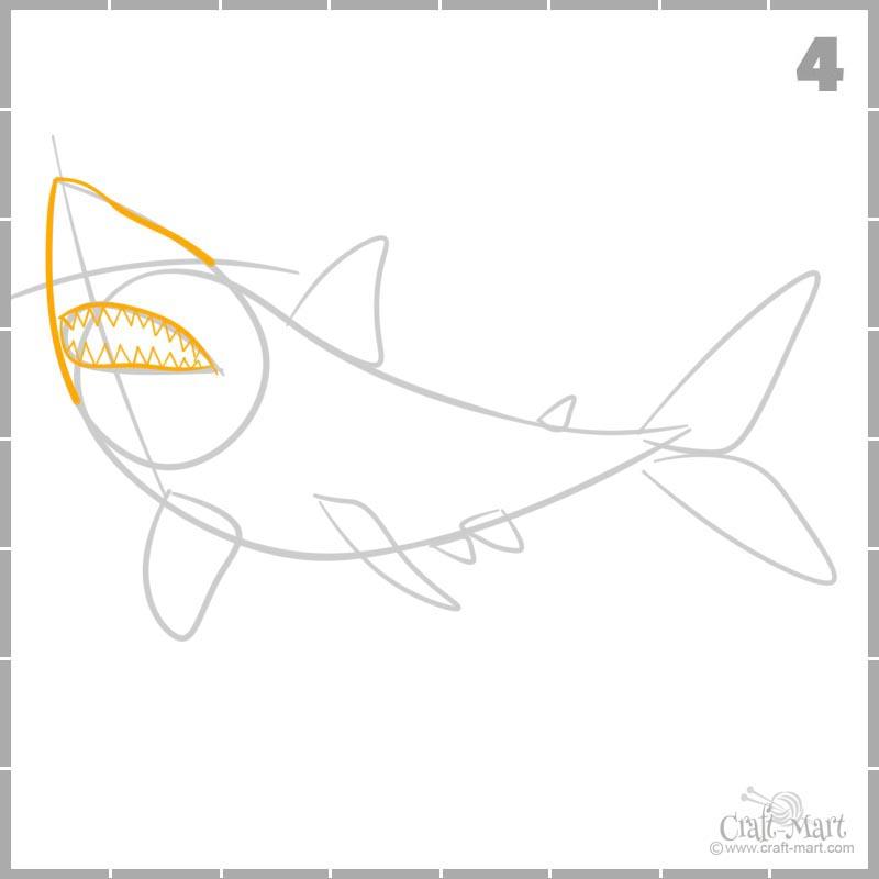 Learn how to draw a shark head