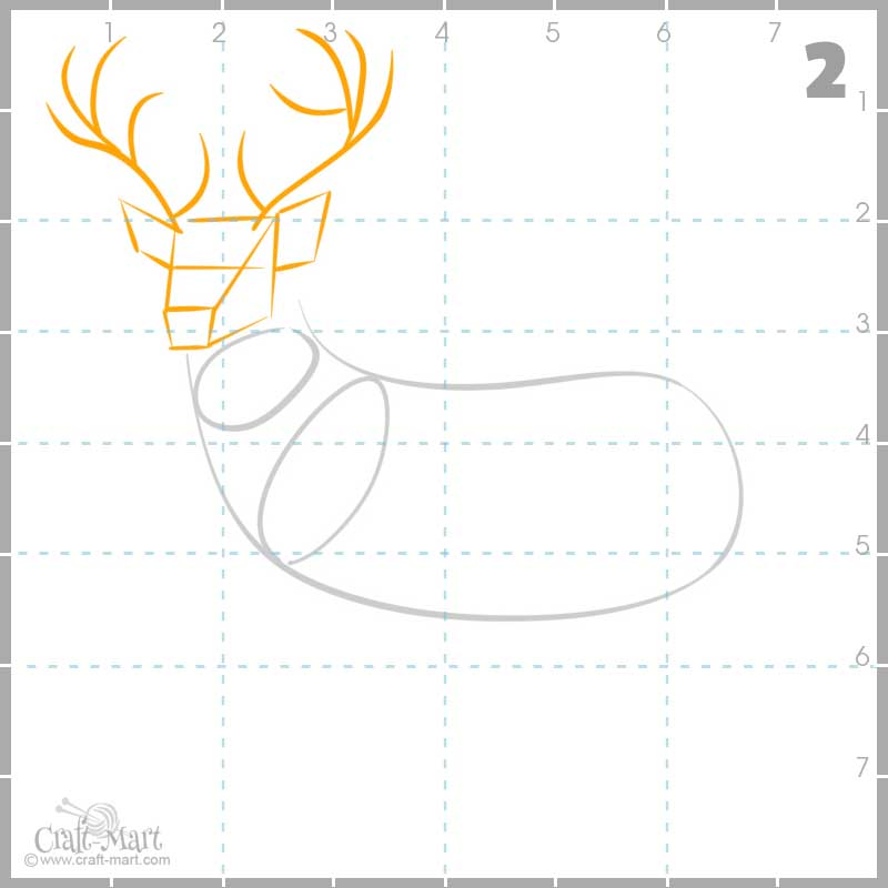 drawing deer's head and antlers