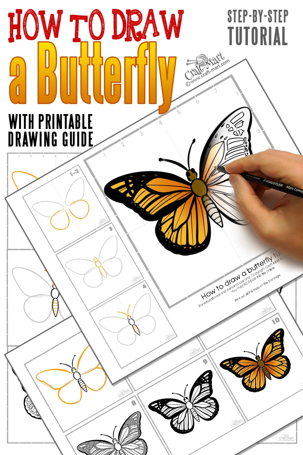 how to draw a butterfly step by step printable guide