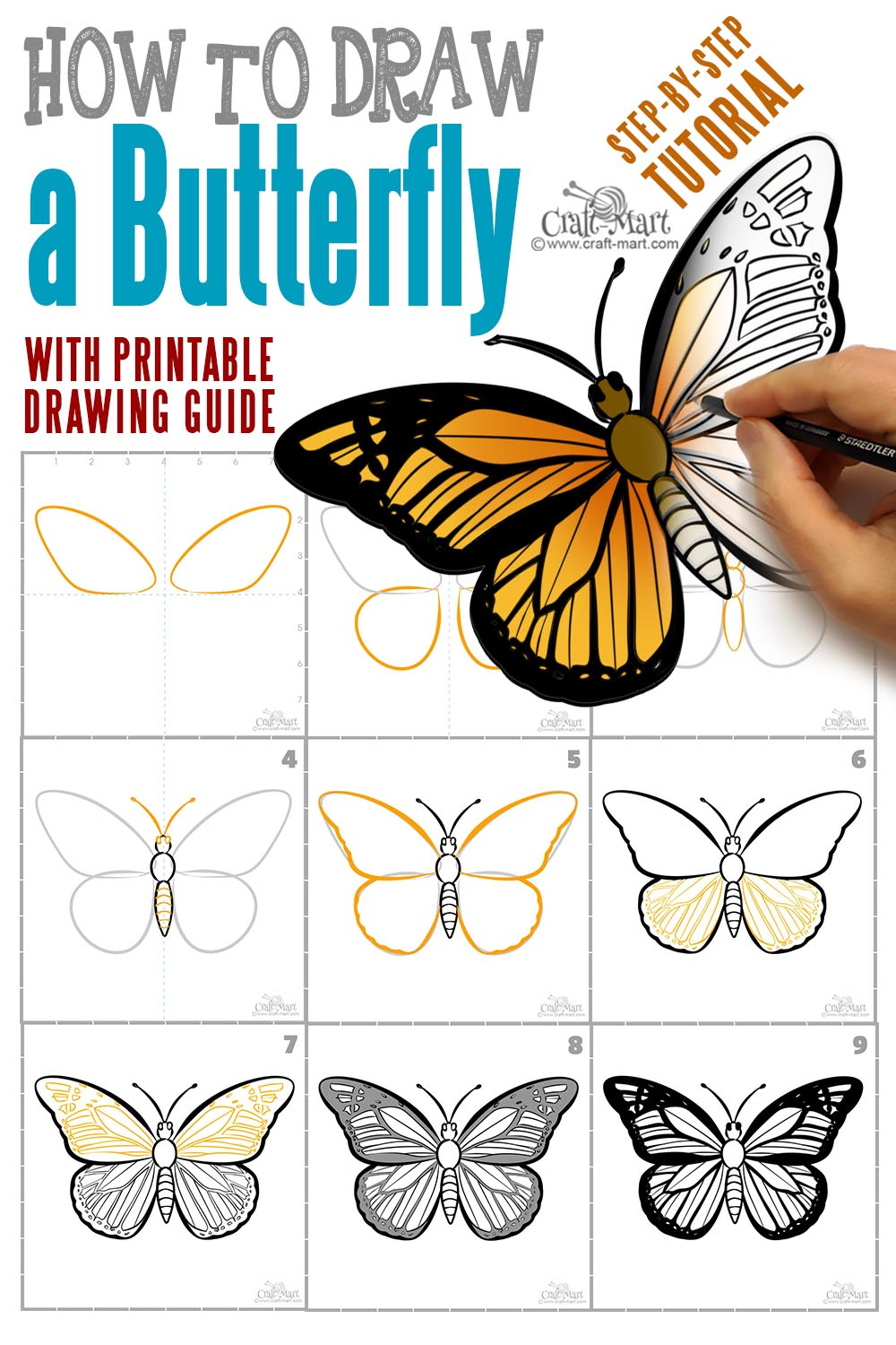 step-by-step butterfly drawing tutorial with printable guide
