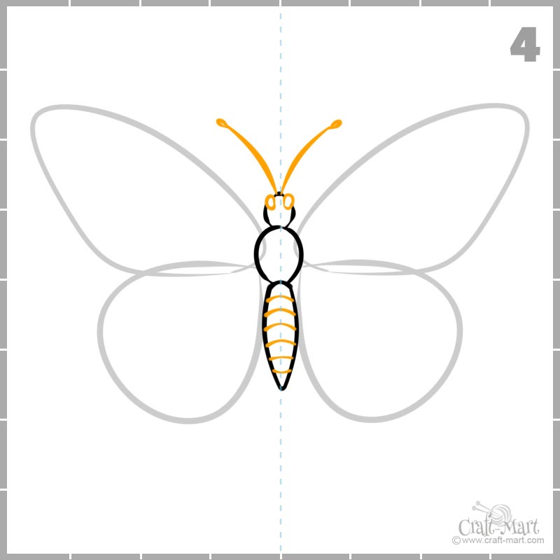 How to draw butterfly head