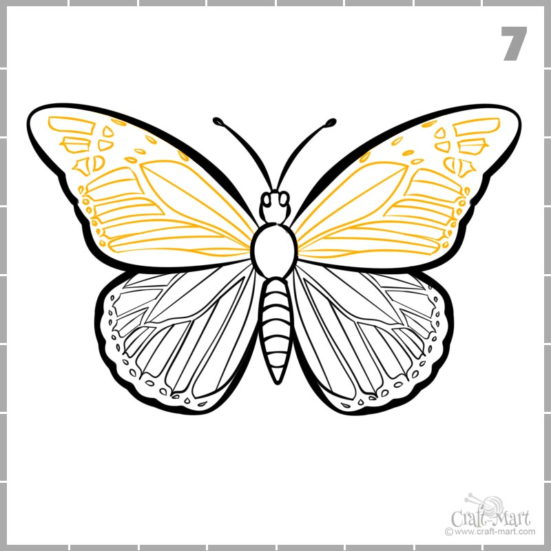 draw butterfly wings pattern