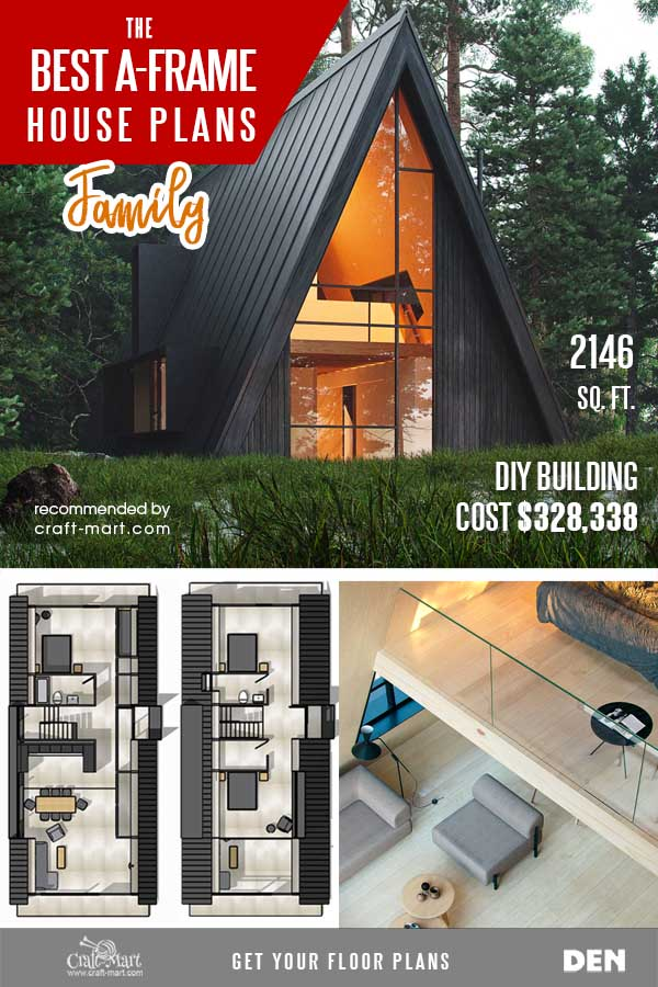 3-bedroom A-frame house with 2 bathrooms