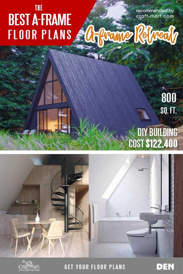 A-Frame Retreat House Plans with a Loft