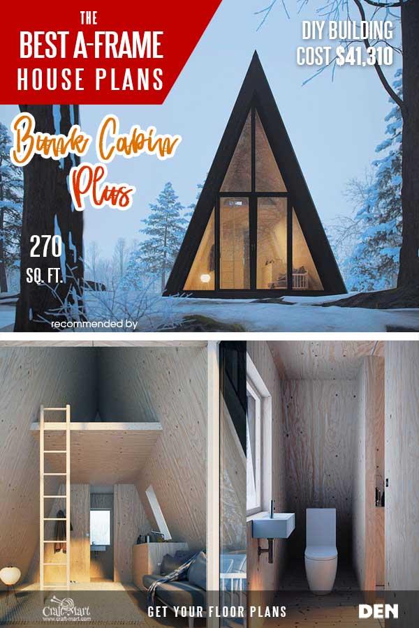 A-frame bunk cabin with a bathroom