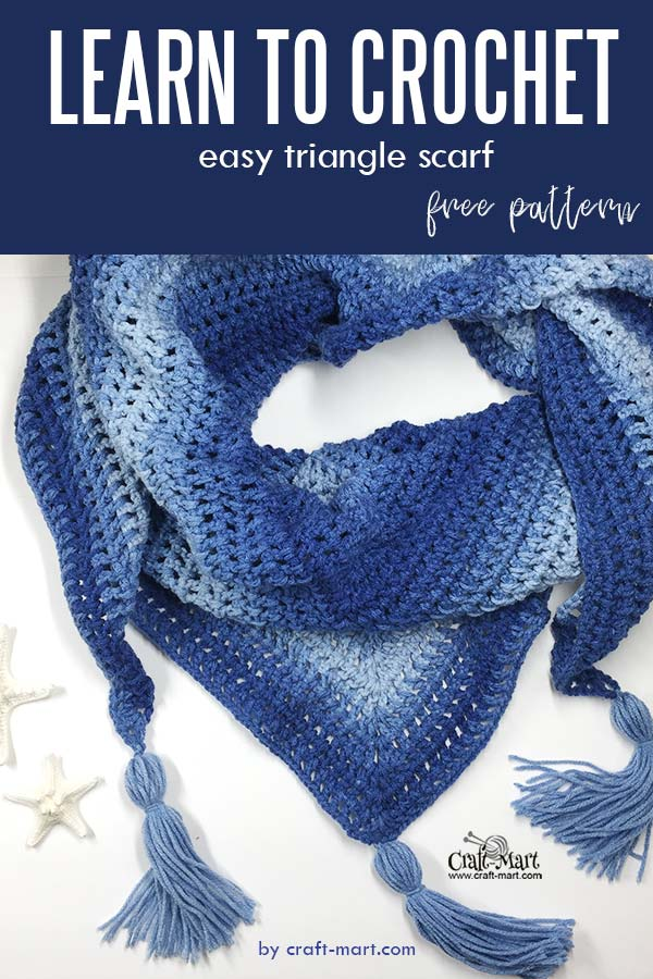 Learn to crochet triangle scarf pattern