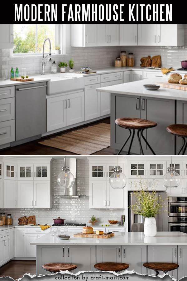 White modern farmhouse kitchen