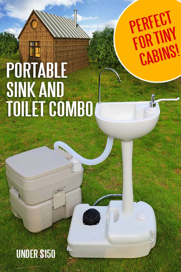 portable sink and toilet combo for small cabin plans or tiny homes