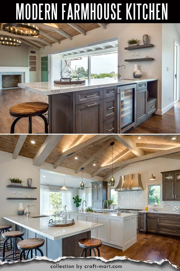 Rustic modern farmhouse kitchen with two islands