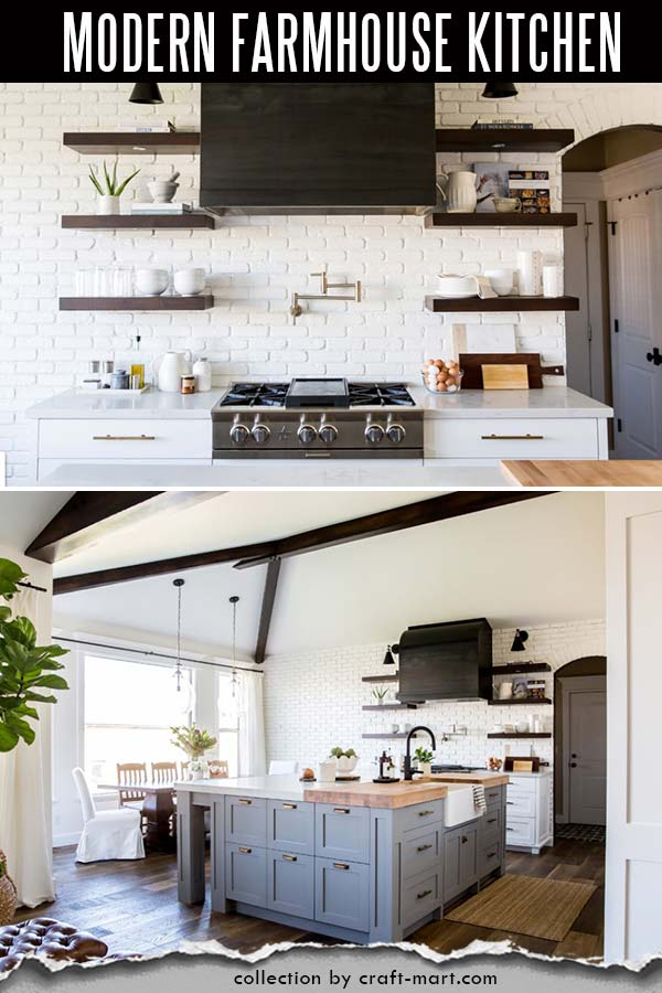 Rustic modern farmhouse kitchen with open shelving