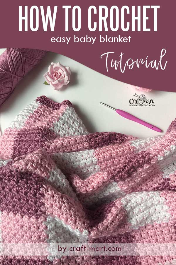 How to crochet a baby blanket - free pattern of gingham-style crochet blanket