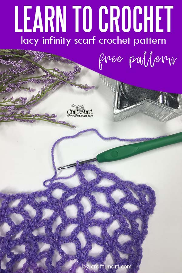 Learn to crochet lacy spring-time infinity scarf