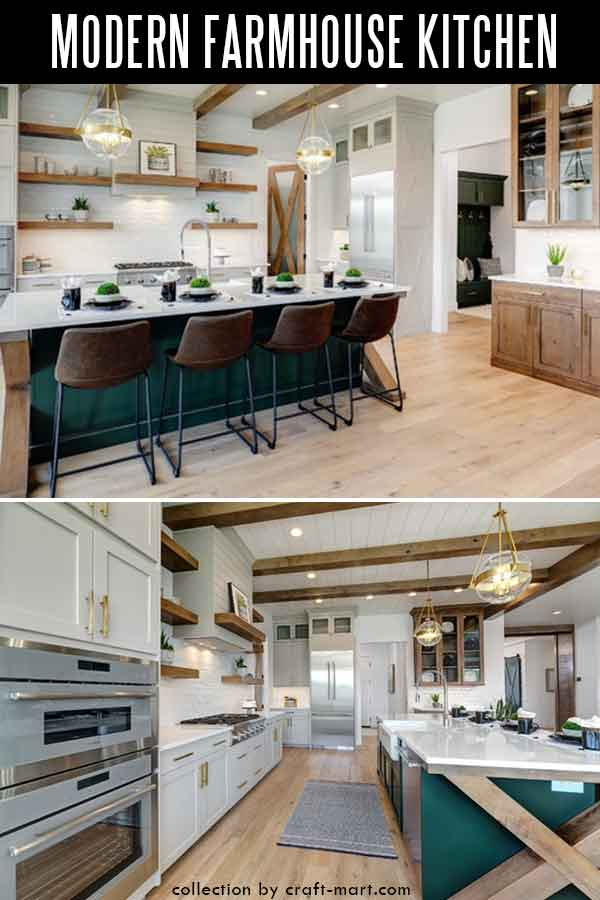 Large L-shaped farmhouse kitchen with unique island