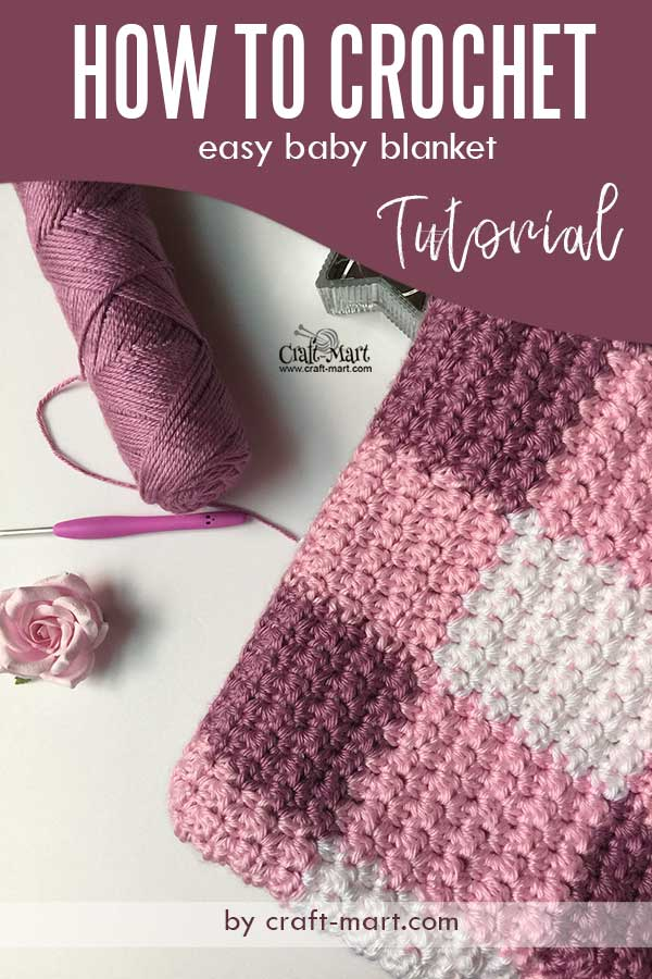 gingham-style free crochet baby blanket pattern