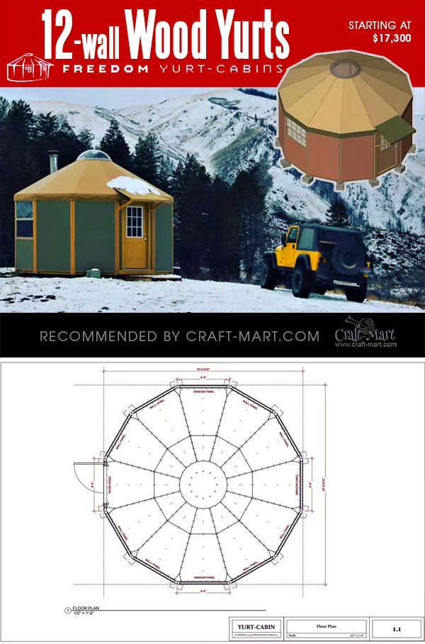 12-wall yurt cabin kits for sale