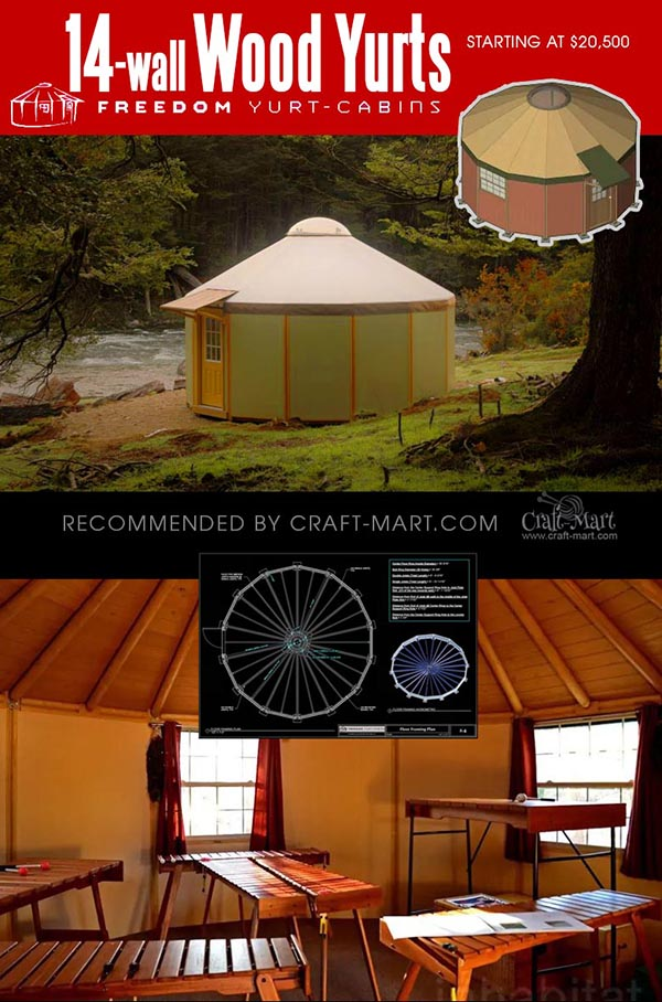 14-wall yurt cabin kits for sale for businesses and individuals
