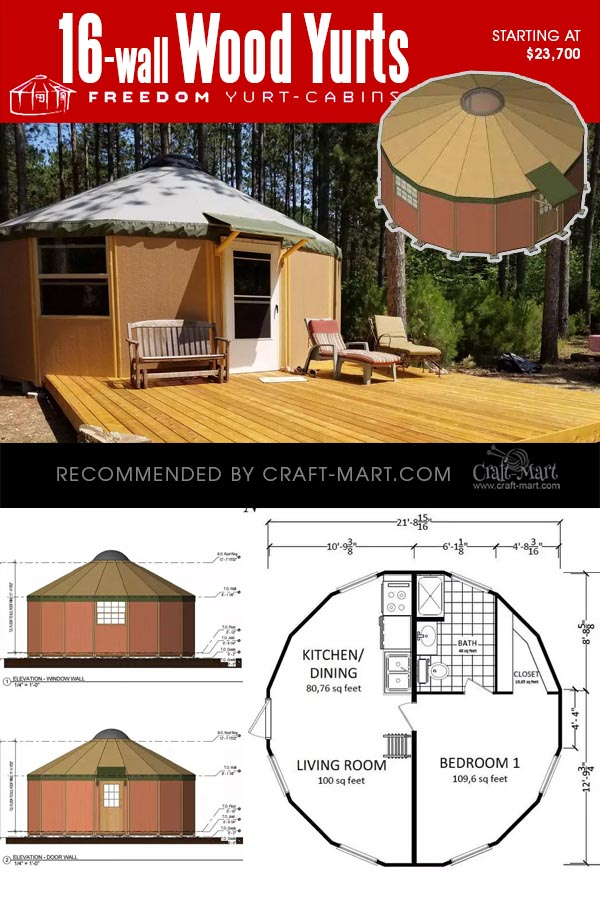 16-wall yurt cabin kits with proposed floor plan configuration