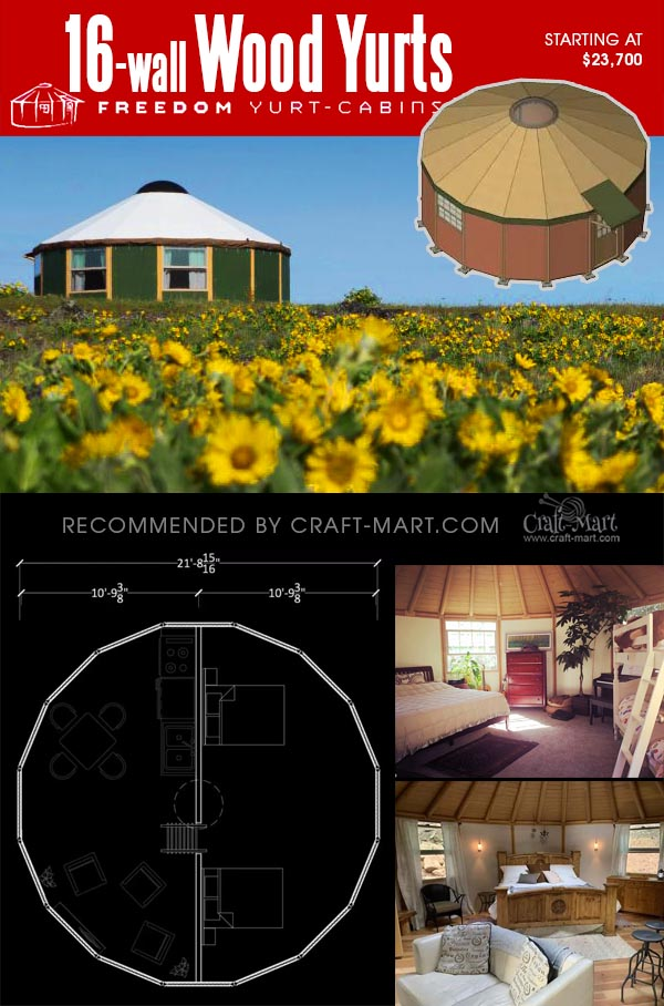 16-wall yurt cabin with interior pictures