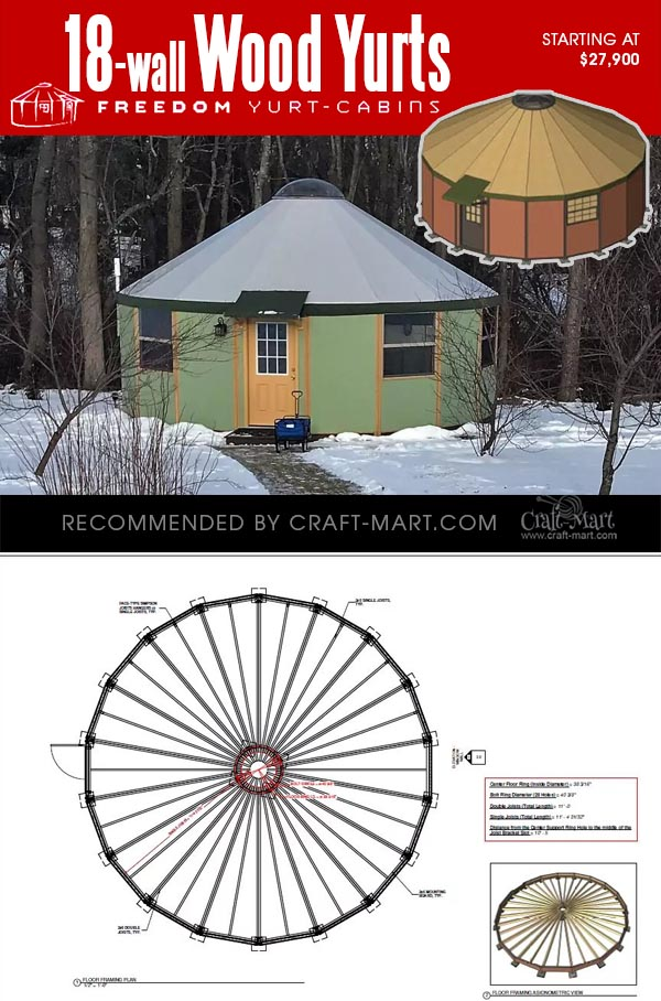 18-wall wooden yurt kits for sale