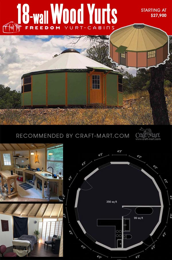 18-wall wooden yurt with interior views and a floor plan
