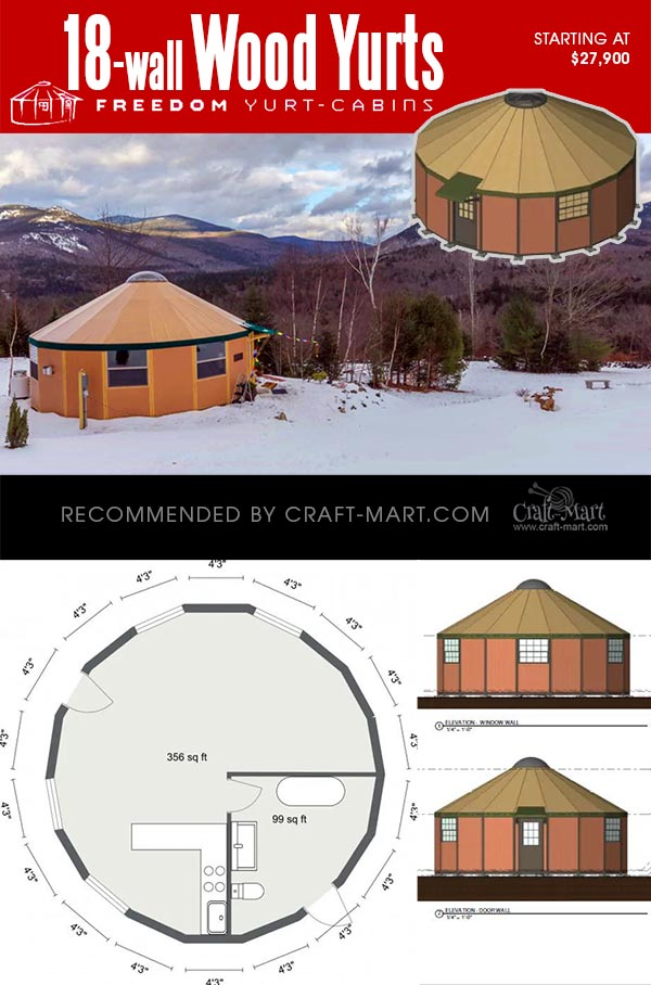 18-wall wooden yurt with a floor plan