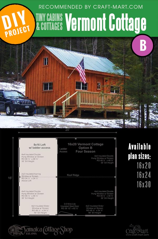 Vermont B small cabin kit available in 3 sizes