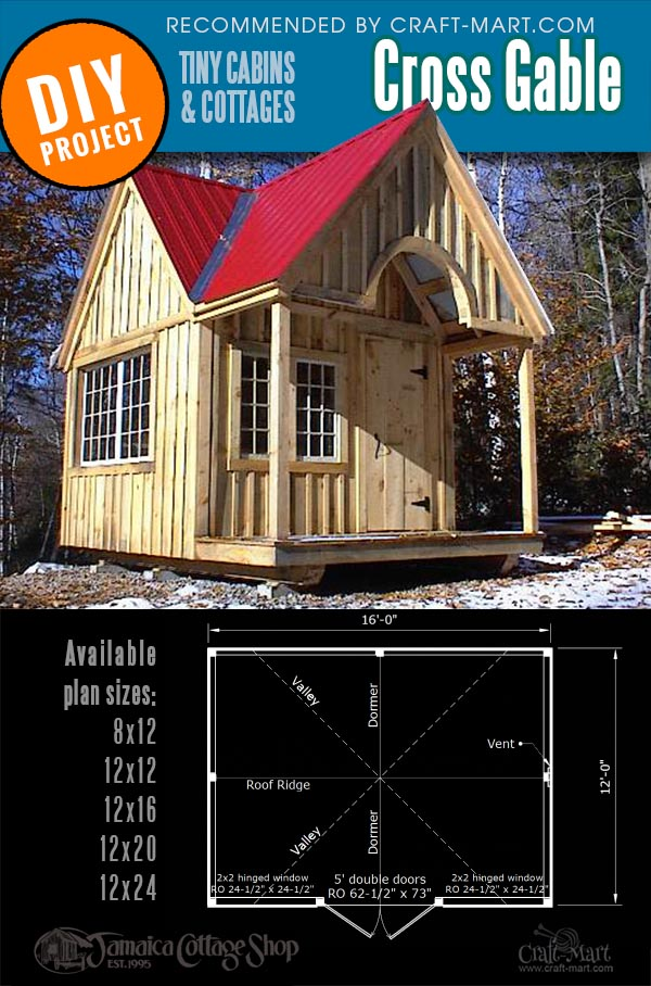 cottage cabin kits of 5 different sizes for Cross Gable Cottage