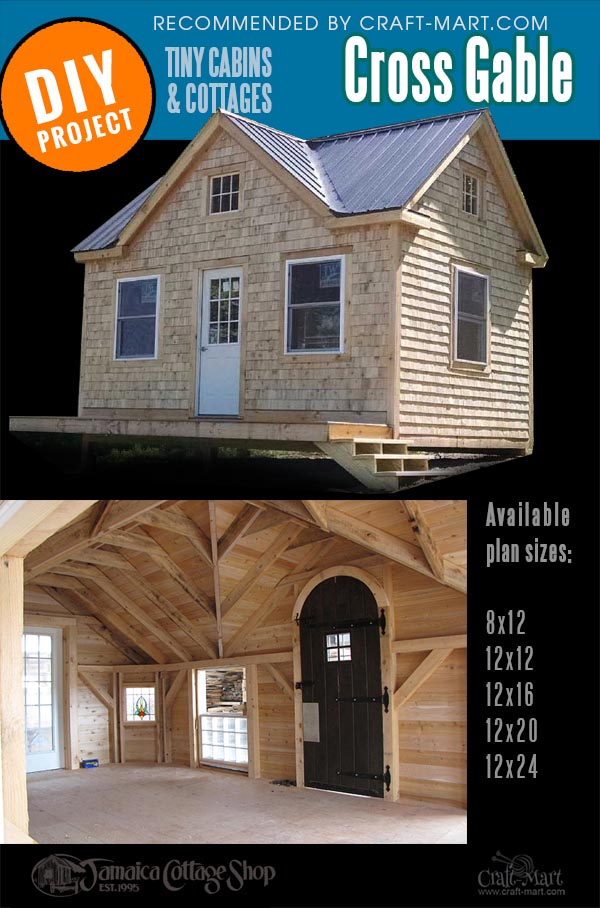 Cross gable cottage for sale showing facade and interior