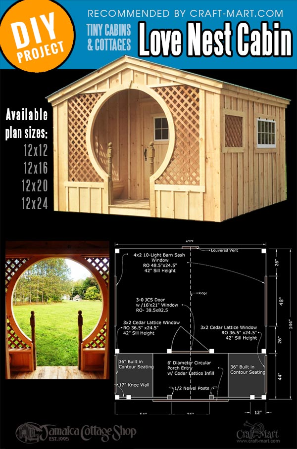 Love Nest small pre built cabin kit and the plan