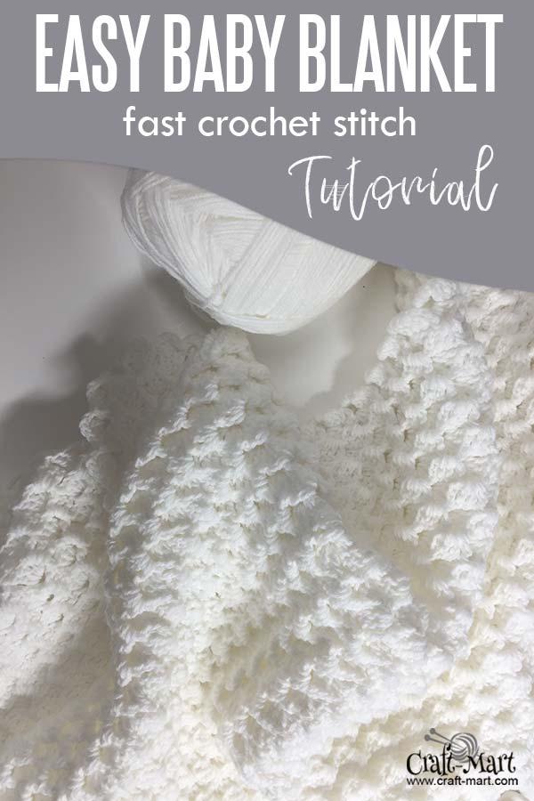 Easy crochet baby blanket using Bernat Baby Sport Yarn