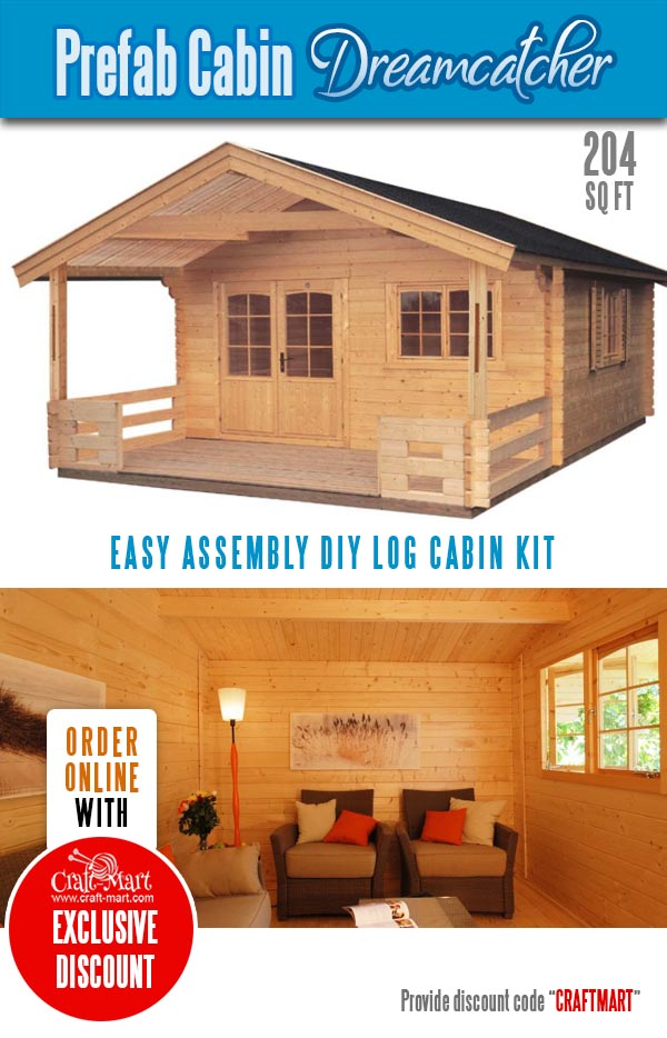 Tiny Log Cabin Kits with a porch