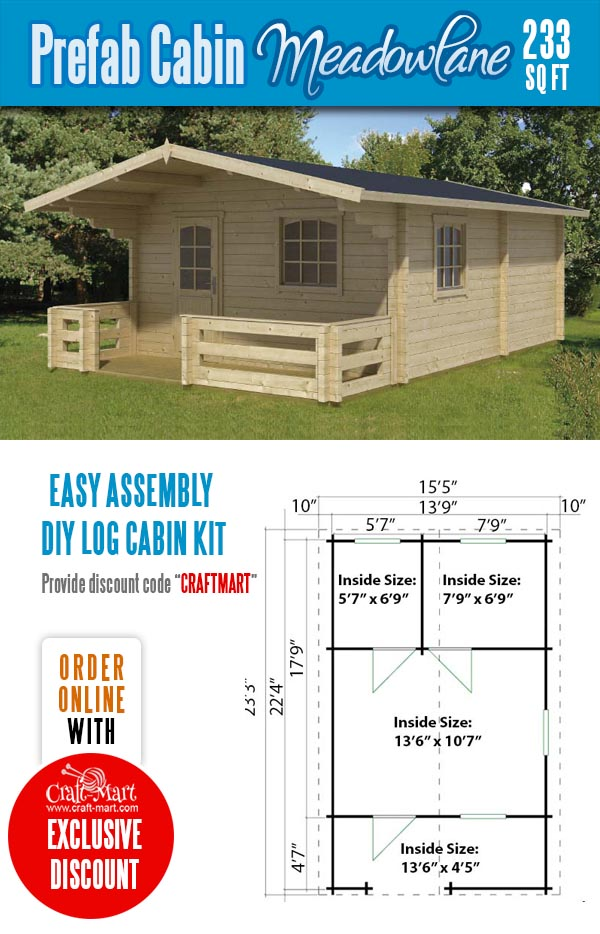 Log Cabin Tiny house Kit Meadowlane