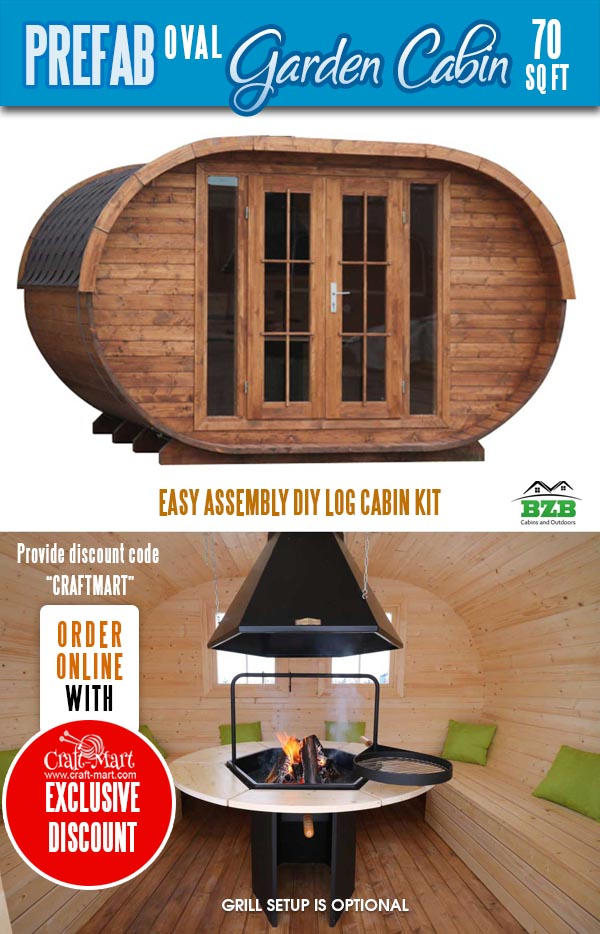 Oval Garden Cabin Kit with a grill