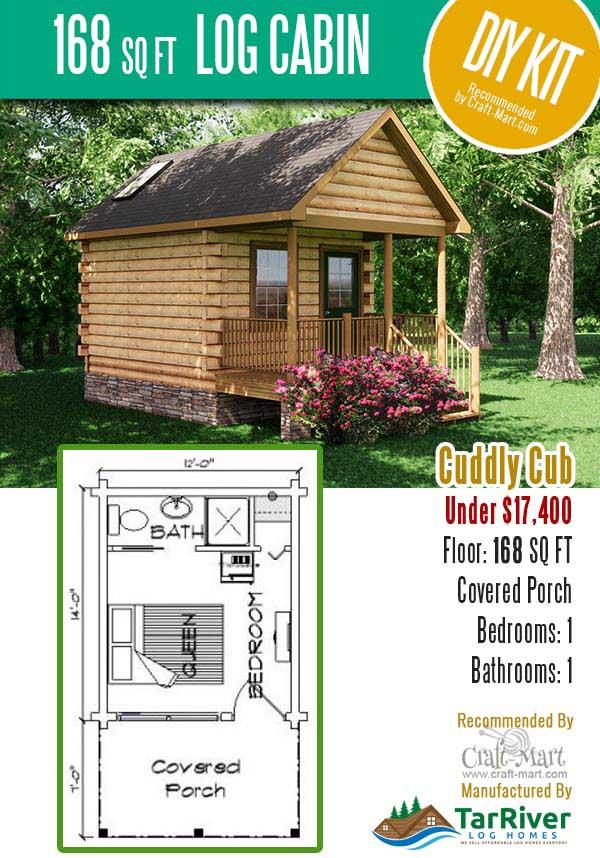 Tiny log cabin kit Cuddly Cub by TarRiver log homes