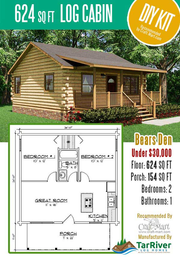 Small log cabin kit for DIY assembly