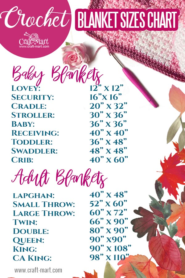 crochet blanket size chart - adult and baby sizes