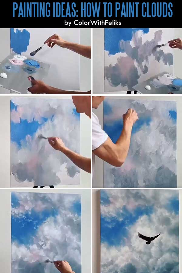 Easy Acrylic Painting Ideas for Beginners - How To Paint Clouds
