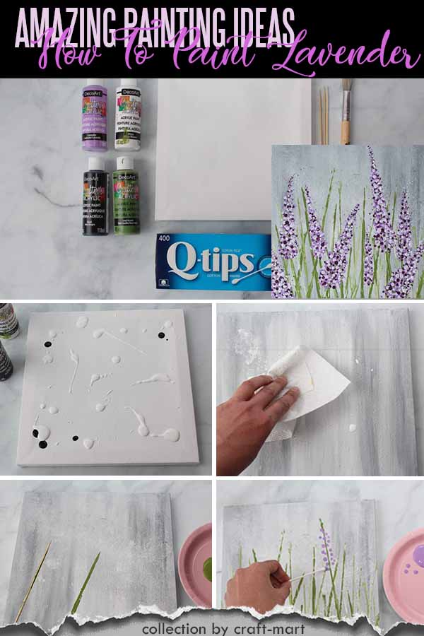 Easy Acrylic Painting Ideas for Beginners - How to Paint Lavender with Q-tips