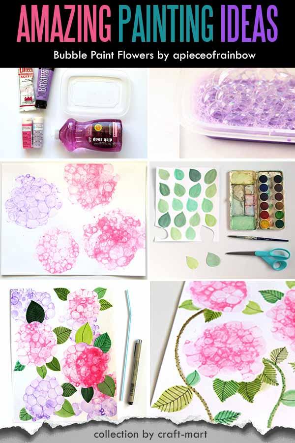 Easy Acrylic Painting Ideas for Beginners - BUBBLE PAINT FLOWER HYDRANGEAS