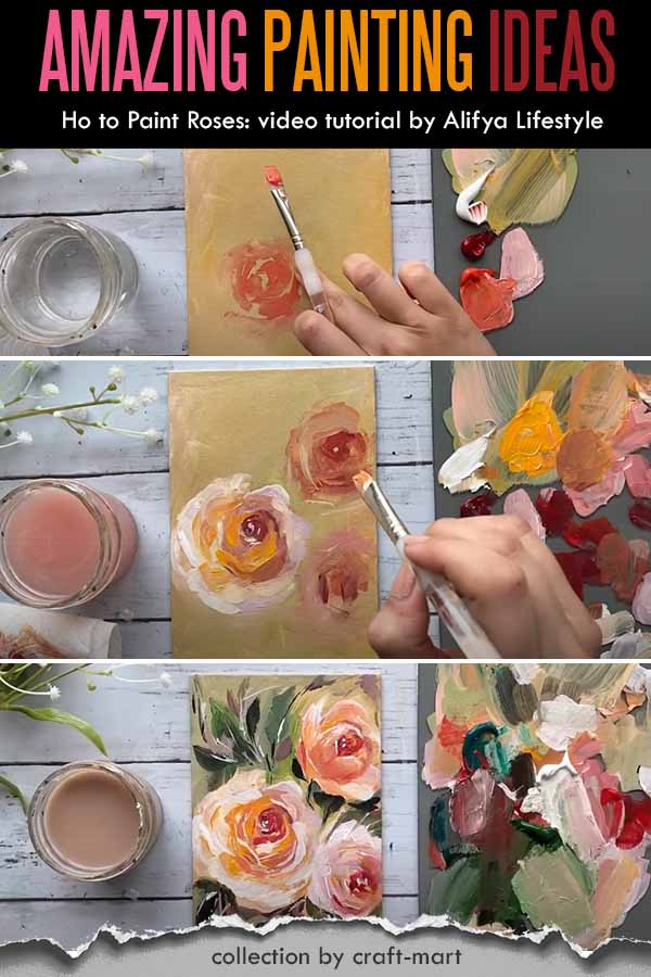Flowers Painting Idea - How to Paint Roses