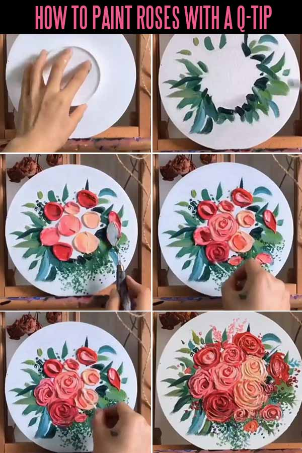 Flowers Painting Idea - How to paint roses with a q-tips