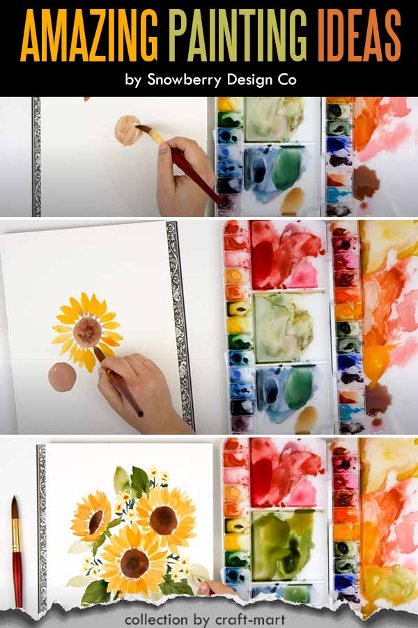 Step-by-step Painting for Beginners: How to paint sunflowers