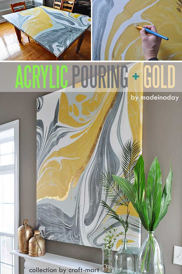 Easy Acrylic Painting Ideas - Acrylic Pouring and Gold Leaf