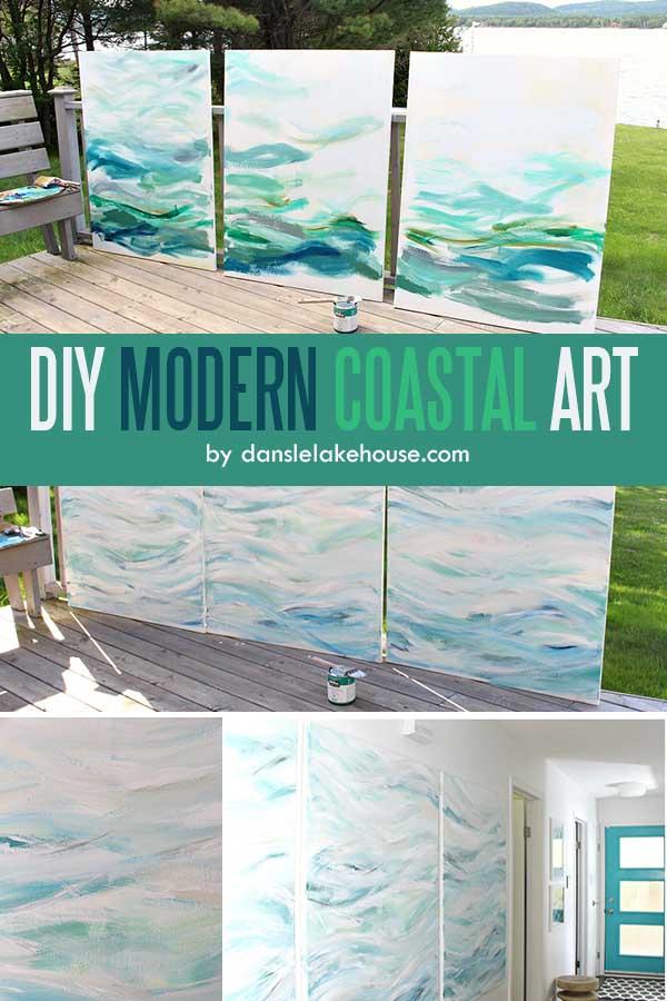 Easy Acrylic Painting Ideas for Beginners - DIY MODERN COASTAL ART