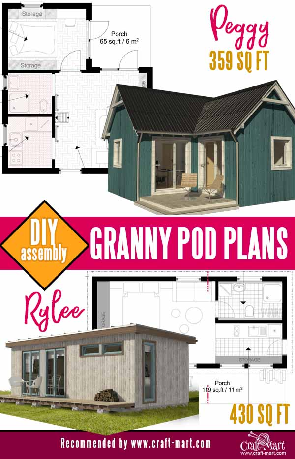 traditional-looking tiny house and modern granny pod plans