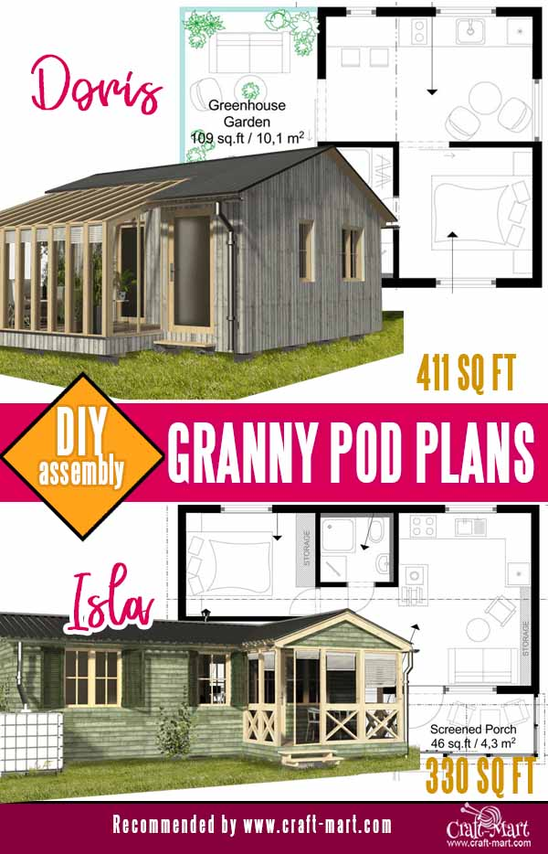 Doris and isla granny pod plans with winter garden and screened porch
