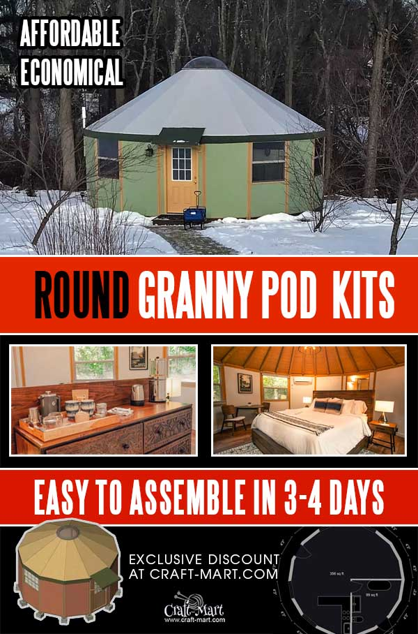round granny pod kits - wooden yurts